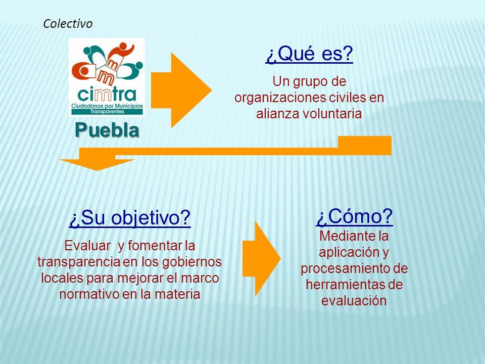 ¿Qué es? Un grupo de organizaciones civiles en alianza voluntaria ¿Cómo? Mediante la aplicación y procesamiento de herramientas de evaluación ¿Su obje