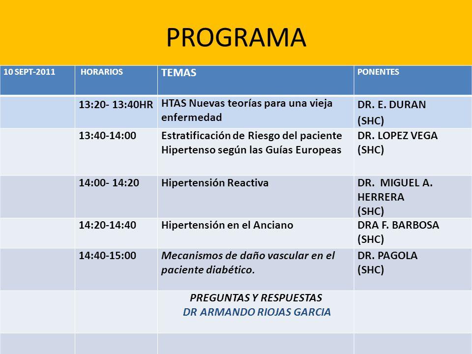 PROGRAMA 10 SEPT-2011 HORARIOS TEMAS PONENTES 13:20- 13:40HR HTAS Nuevas teorías para una vieja enfermedad DR. E. DURAN (SHC) 13:40-14:00Estratificaci