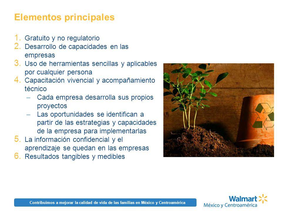 Contribuimos a mejorar la calidad de vida de las familias en México y Centroamérica Elementos principales 1. Gratuito y no regulatorio 2. Desarrollo d