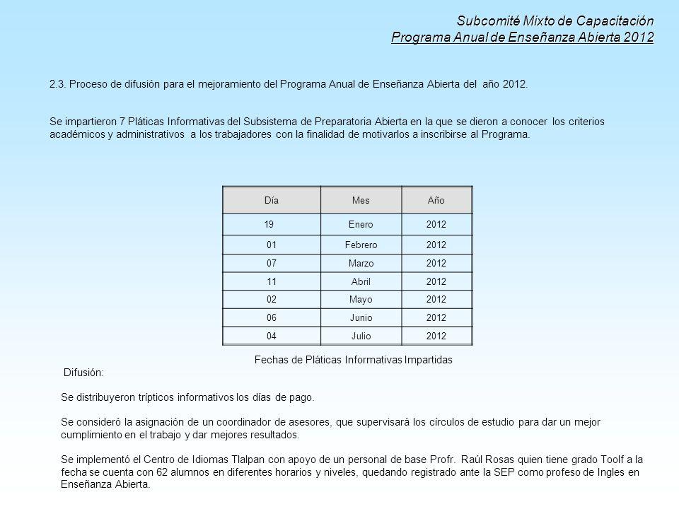 Subcomité Mixto de Capacitación Programa Anual de Enseñanza Abierta 2012 2.3. Proceso de difusión para el mejoramiento del Programa Anual de Enseñanza