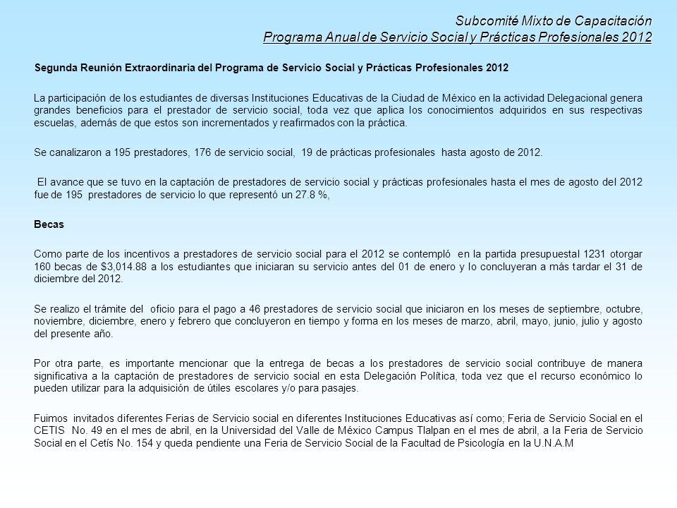Subcomité Mixto de Capacitación Programa Anual de Servicio Social y Prácticas Profesionales 2012 Segunda Reunión Extraordinaria del Programa de Servic