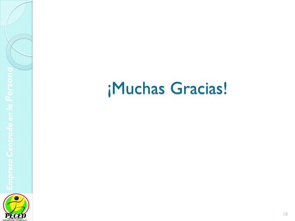 Empresa Centrada en la Persona ¡Muchas Gracias! 18