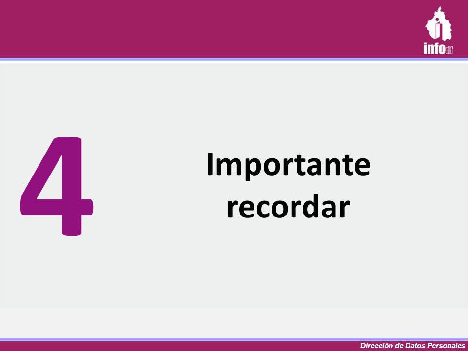 Dirección de Datos Personales Importante recordar 4
