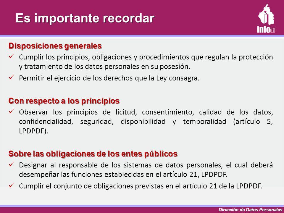 Dirección de Datos Personales Es importante recordar Disposiciones generales Cumplir los principios, obligaciones y procedimientos que regulan la prot