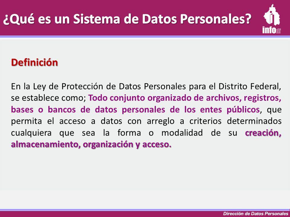 Dirección de Datos Personales Definición creación, almacenamiento, organización y acceso. En la Ley de Protección de Datos Personales para el Distrito