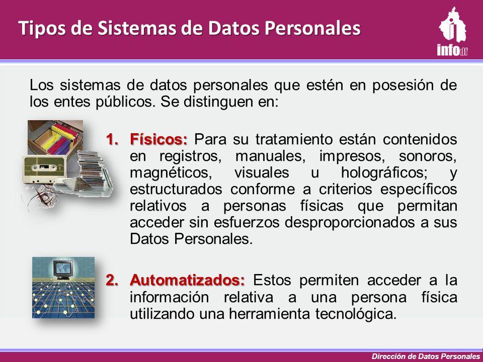 Dirección de Datos Personales Tipos de Sistemas de Datos Personales Los sistemas de datos personales que estén en posesión de los entes públicos. Se d