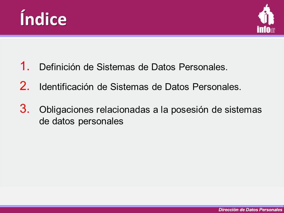 Dirección de Datos Personales Índice 1. Definición de Sistemas de Datos Personales. 2. Identificación de Sistemas de Datos Personales. 3. Obligaciones