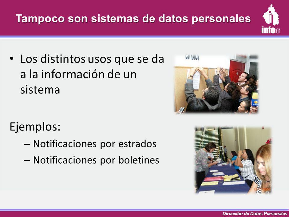 Dirección de Datos Personales Tampoco son sistemas de datos personales Los distintos usos que se da a la información de un sistema Ejemplos: – Notific