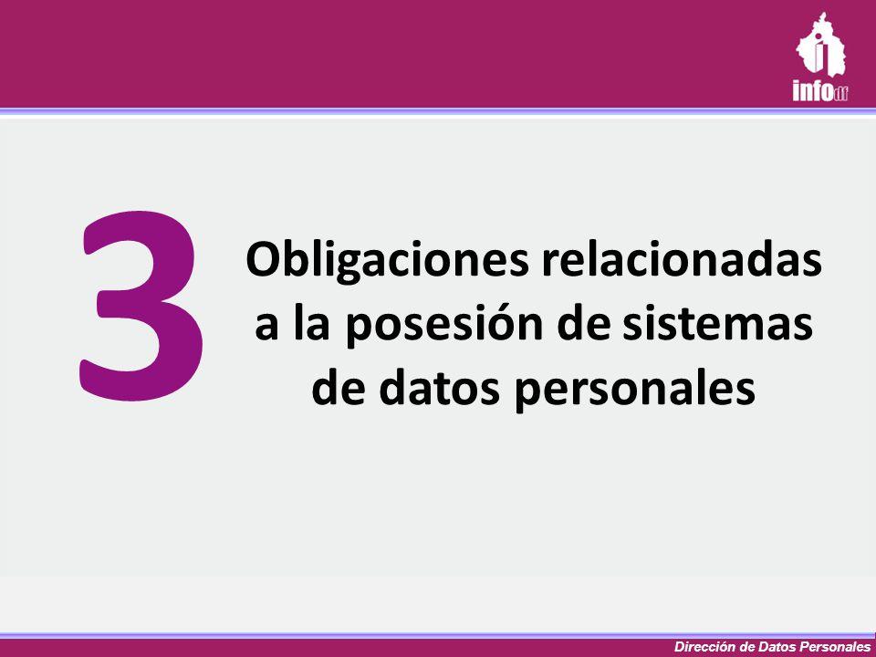 Dirección de Datos Personales Obligaciones relacionadas a la posesión de sistemas de datos personales 3