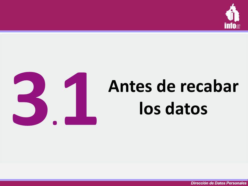 Dirección de Datos Personales Antes de recabar los datos 3.13.1
