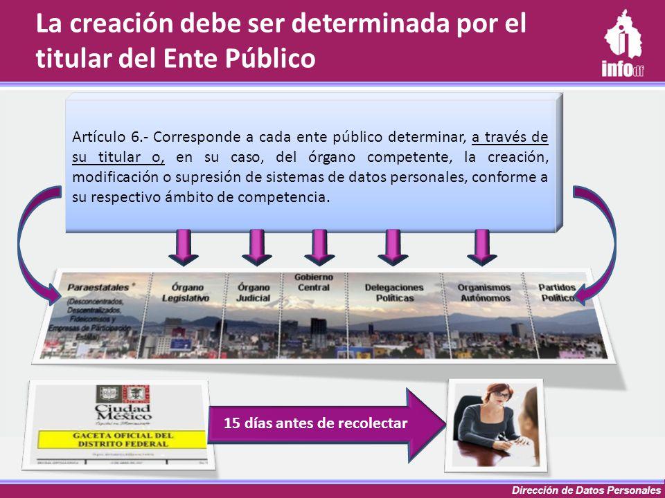 Dirección de Datos Personales La creación debe ser determinada por el titular del Ente Público Artículo 6.- Corresponde a cada ente público determinar