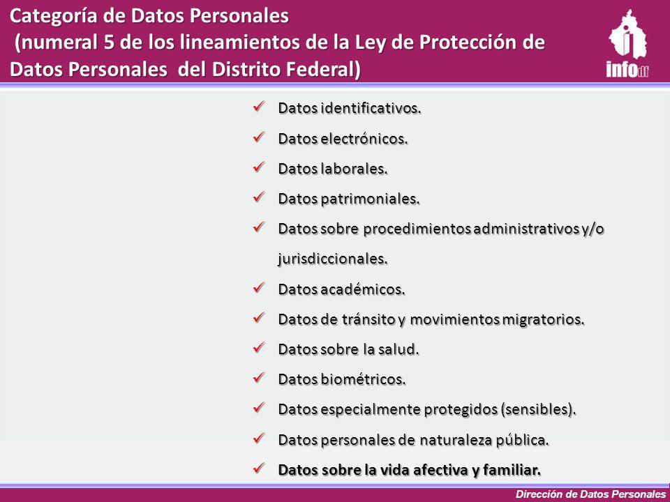 Dirección de Datos Personales Categoría de Datos Personales (numeral 5 de los lineamientos de la Ley de Protección de Datos Personales del Distrito Fe