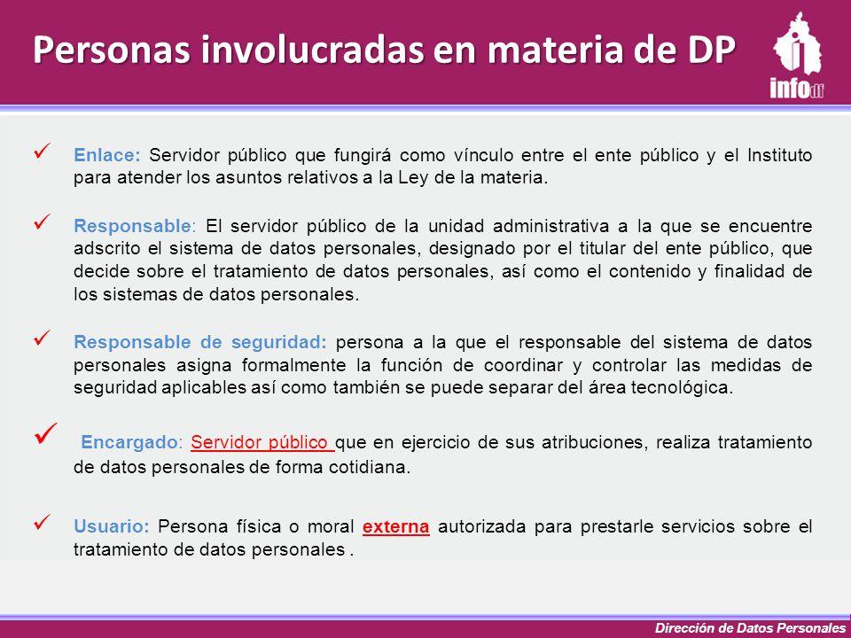 Dirección de Datos Personales Personas involucradas en materia de DP Enlace: Servidor público que fungirá como vínculo entre el ente público y el Inst