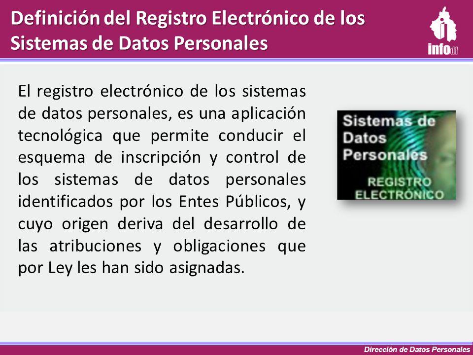 Dirección de Datos Personales Definición del Registro Electrónico de los Sistemas de Datos Personales El registro electrónico de los sistemas de datos