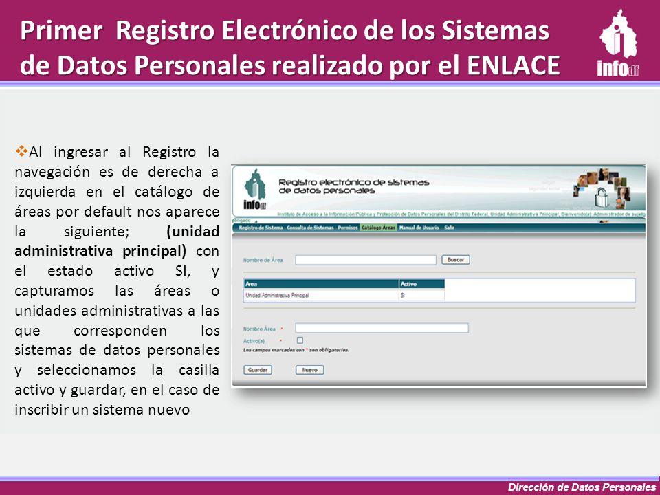 Dirección de Datos Personales Primer Registro Electrónico de los Sistemas de Datos Personales realizado por el ENLACE Al ingresar al Registro la naveg