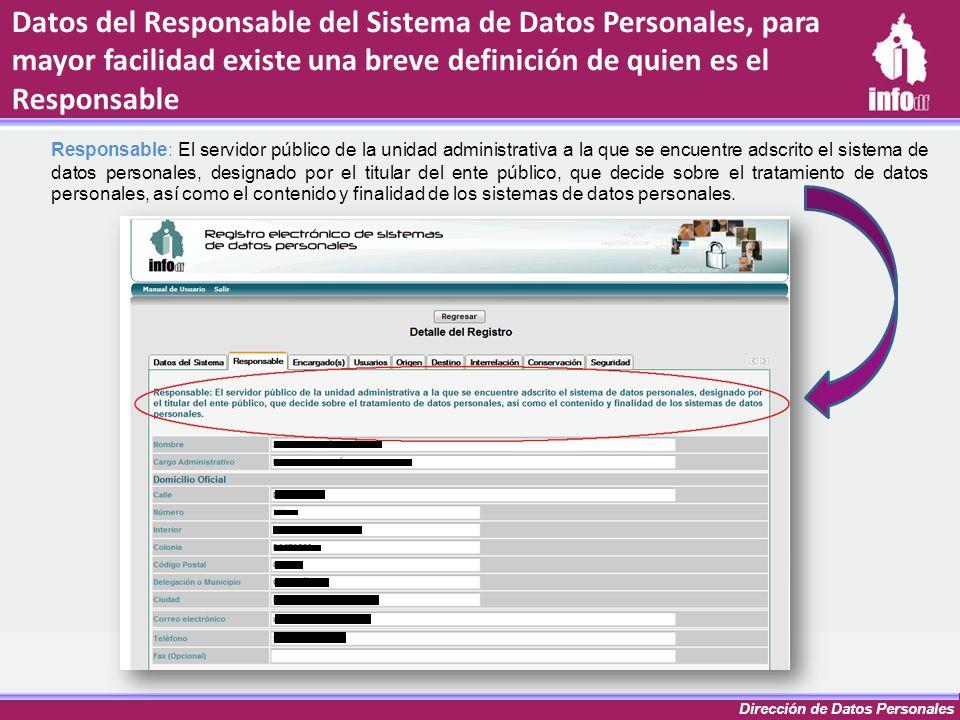 Dirección de Datos Personales Datos del Responsable del Sistema de Datos Personales, para mayor facilidad existe una breve definición de quien es el R