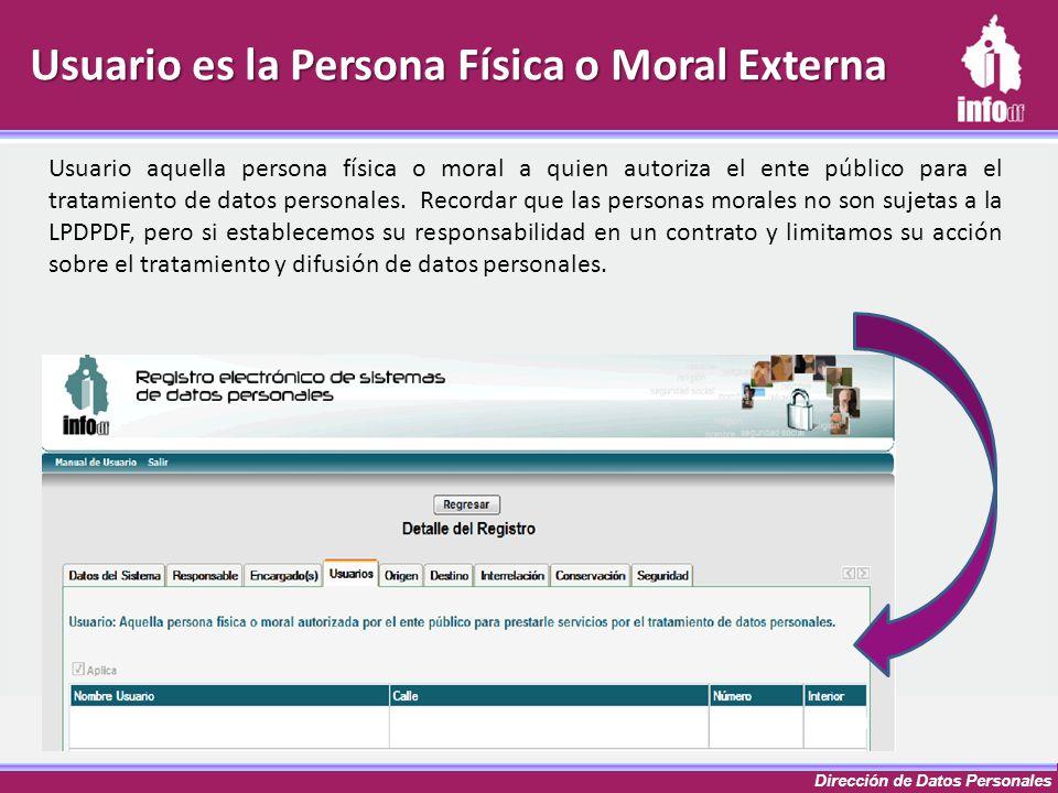 Dirección de Datos Personales Usuario es la Persona Física o Moral Externa Usuario aquella persona física o moral a quien autoriza el ente público par