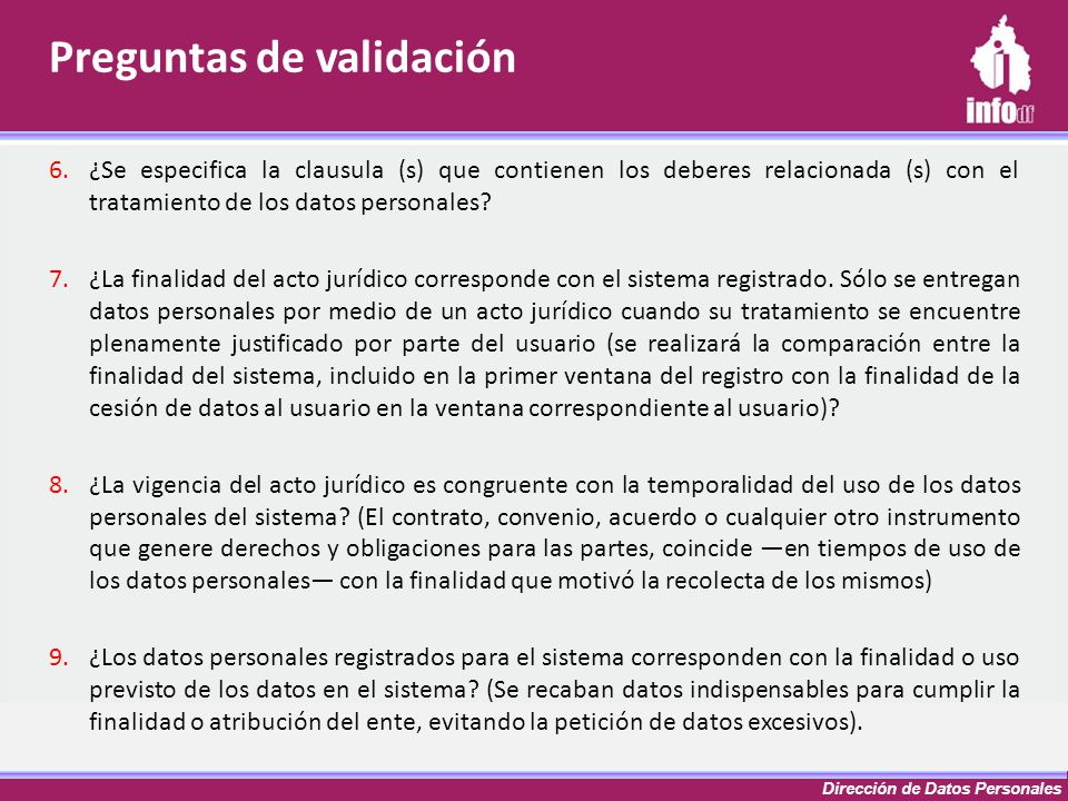 Dirección de Datos Personales 6.¿Se especifica la clausula (s) que contienen los deberes relacionada (s) con el tratamiento de los datos personales? 7