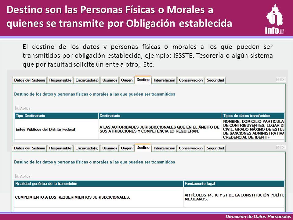Dirección de Datos Personales Destino son las Personas Físicas o Morales a quienes se transmite por Obligación establecida El destino de los datos y p