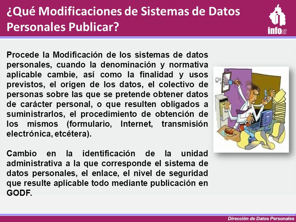 Dirección de Datos Personales ¿Qué Modificaciones de Sistemas de Datos Personales Publicar? Procede la Modificación de los sistemas de datos personale