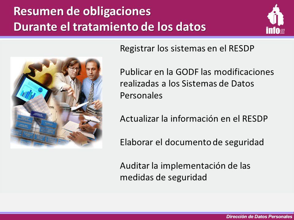 Dirección de Datos Personales Resumen de obligaciones Durante el tratamiento de los datos Registrar los sistemas en el RESDP Publicar en la GODF las m