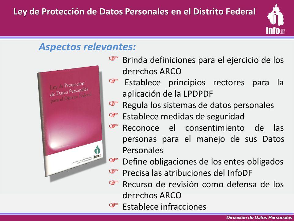 Dirección de Datos Personales Aspectos relevantes: Brinda definiciones para el ejercicio de los derechos ARCO Establece principios rectores para la ap