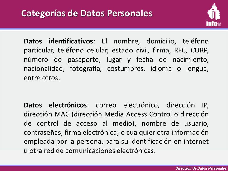 Dirección de Datos Personales Categorías de Datos Personales Datos identificativos: El nombre, domicilio, teléfono particular, teléfono celular, estad