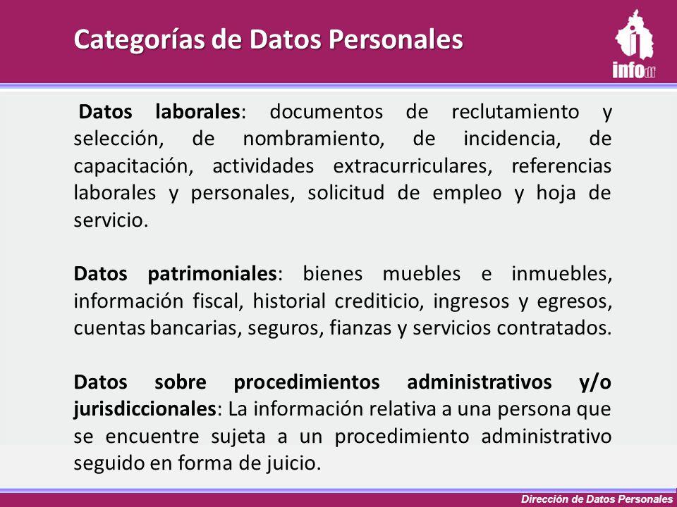 Dirección de Datos Personales Categorías de Datos Personales Datos laborales: documentos de reclutamiento y selección, de nombramiento, de incidencia,