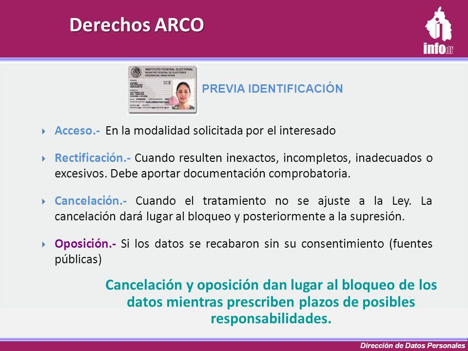Dirección de Datos Personales Derechos ARCO Cancelación y oposición dan lugar al bloqueo de los datos mientras prescriben plazos de posibles responsab