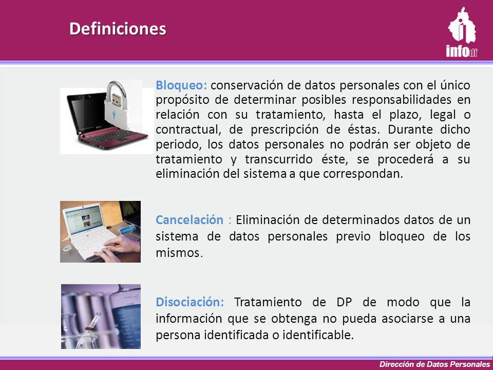 Dirección de Datos Personales Definiciones Bloqueo: conservación de datos personales con el único propósito de determinar posibles responsabilidades e
