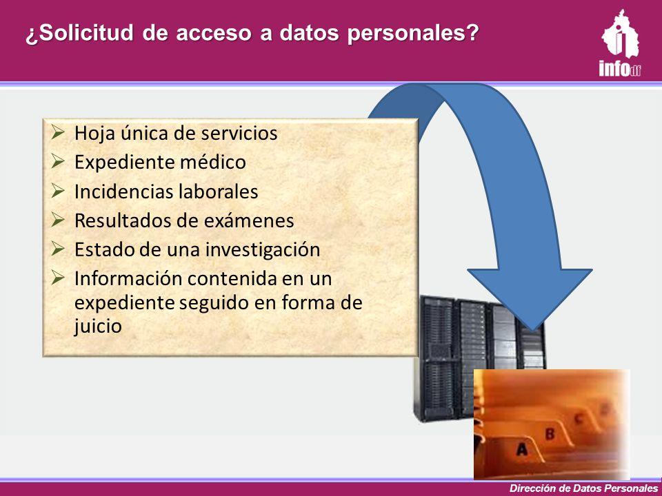 Dirección de Datos Personales ¿Solicitud de acceso a datos personales? Hoja única de servicios Expediente médico Incidencias laborales Resultados de e