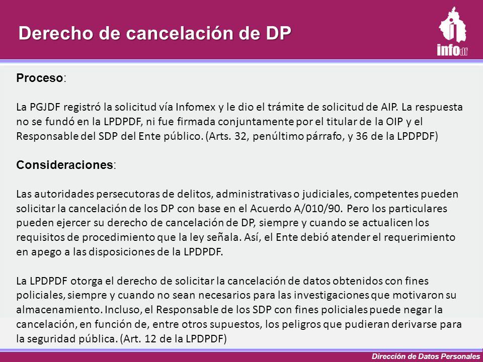 Dirección de Datos Personales Proceso: La PGJDF registró la solicitud vía Infomex y le dio el trámite de solicitud de AIP. La respuesta no se fundó en
