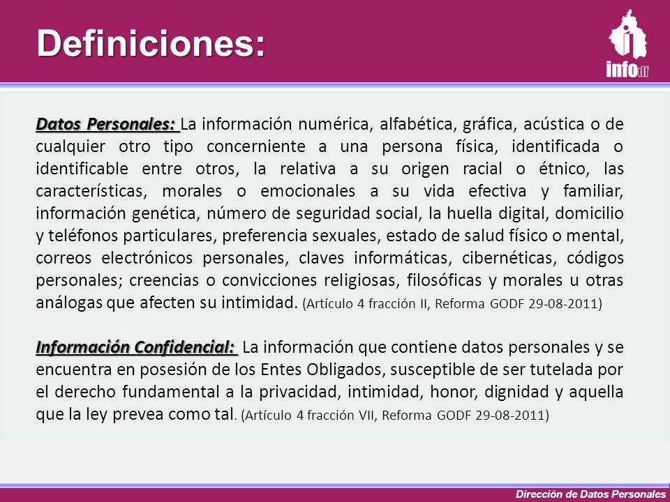 Dirección de Datos PersonalesDefiniciones: Datos Personales: Datos Personales: La información numérica, alfabética, gráfica, acústica o de cualquier o