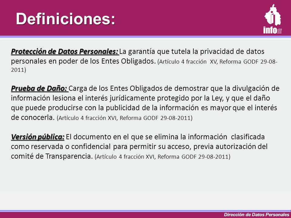 Dirección de Datos PersonalesDefiniciones: Protección de Datos Personales: Protección de Datos Personales: La garantía que tutela la privacidad de dat