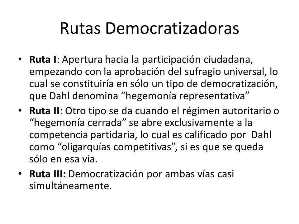 Rutas Democratizadoras Ruta I: Apertura hacia la participación ciudadana, empezando con la aprobación del sufragio universal, lo cual se constituiría