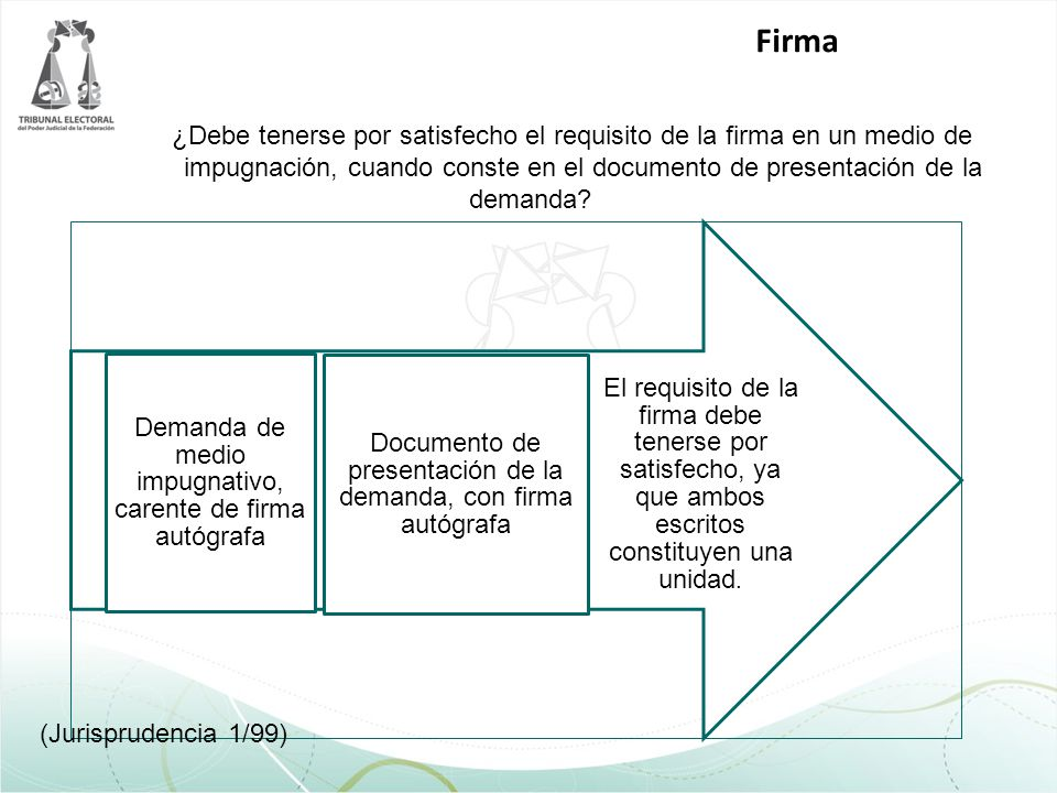 ¿Debe tenerse por satisfecho el requisito de la firma en un medio de impugnación, cuando conste en el documento de presentación de la demanda? El requ