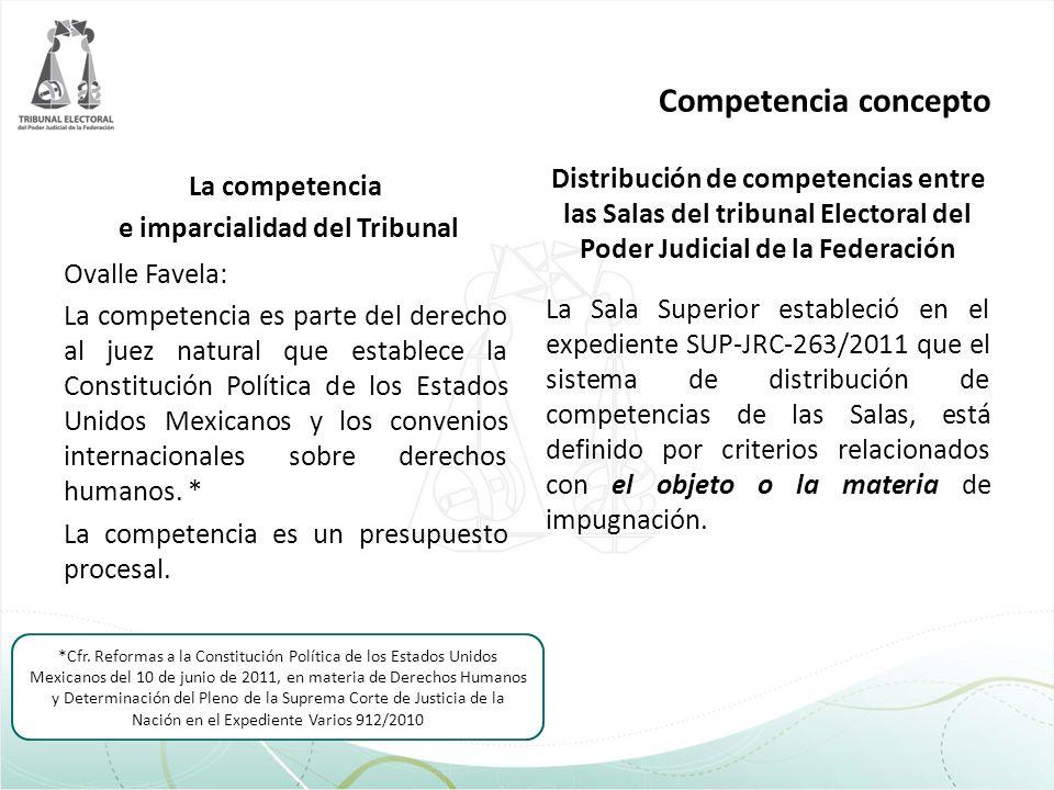 Competencia concepto La competencia e imparcialidad del Tribunal Ovalle Favela: La competencia es parte del derecho al juez natural que establece la C