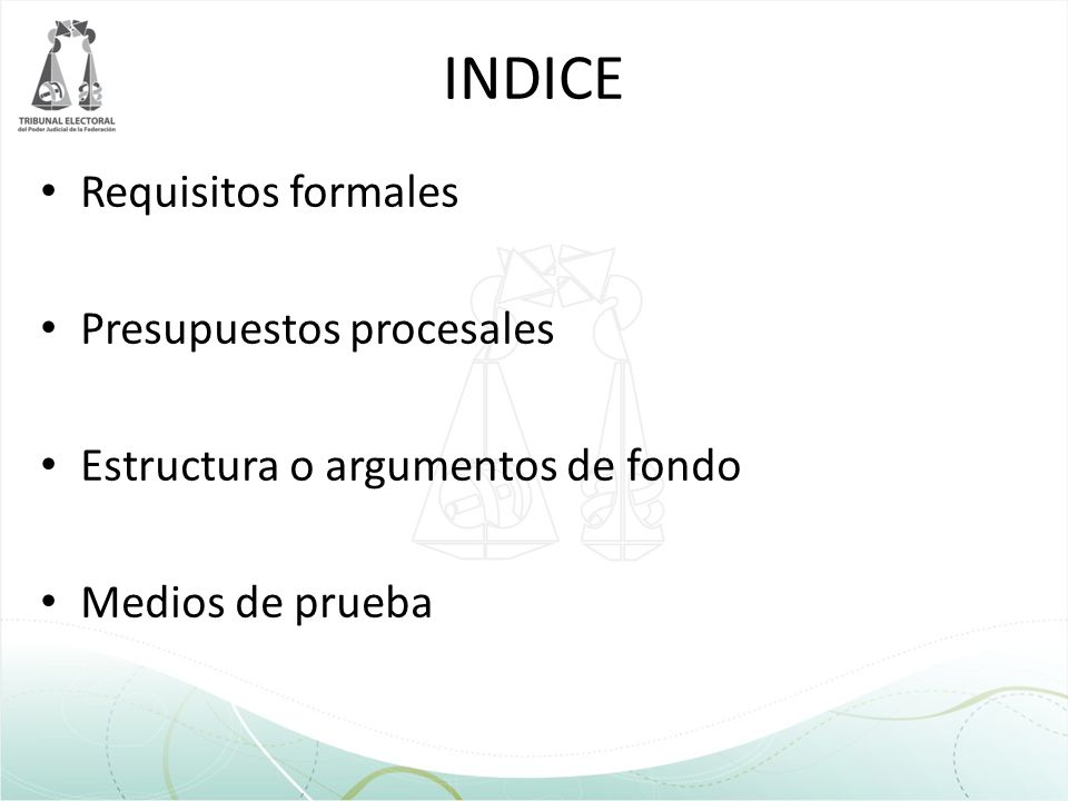 INDICE Requisitos formales Presupuestos procesales Estructura o argumentos de fondo Medios de prueba