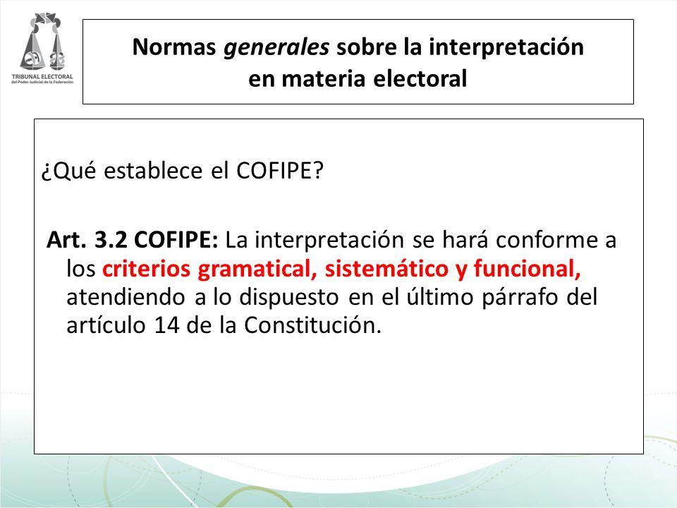 ¿Qué establece el COFIPE? Art. 3.2 COFIPE: La interpretación se hará conforme a los criterios gramatical, sistemático y funcional, atendiendo a lo dis