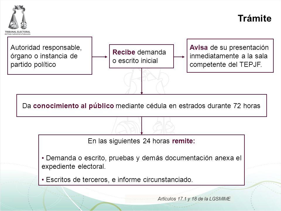 Trámite Recibe demanda o escrito inicial Autoridad responsable, órgano o instancia de partido político Avisa de su presentación inmediatamente a la sa