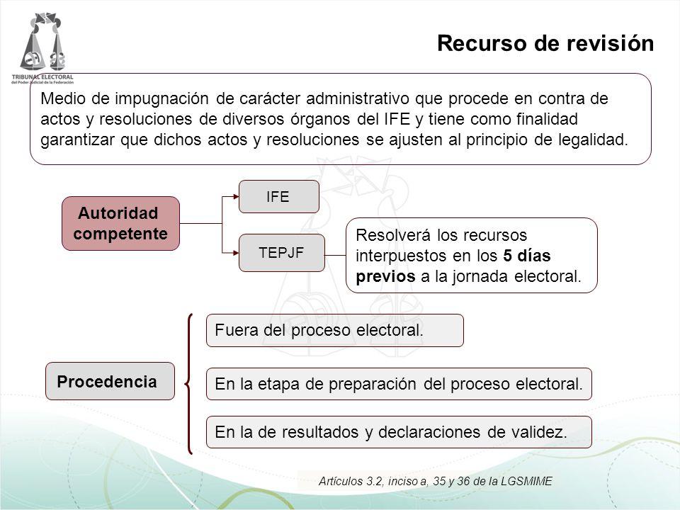 Recurso de revisión Procedencia IFE TEPJF Fuera del proceso electoral. En la etapa de preparación del proceso electoral. En la de resultados y declara
