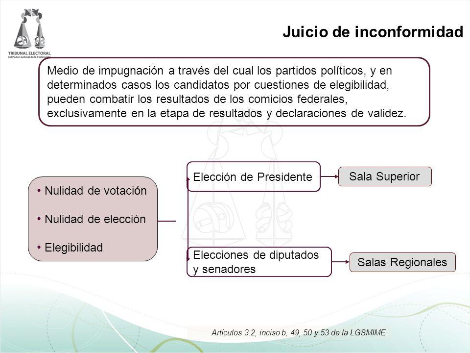 Juicio de inconformidad Nulidad de votación Nulidad de elección Elegibilidad Salas Regionales Sala Superior Medio de impugnación a través del cual los