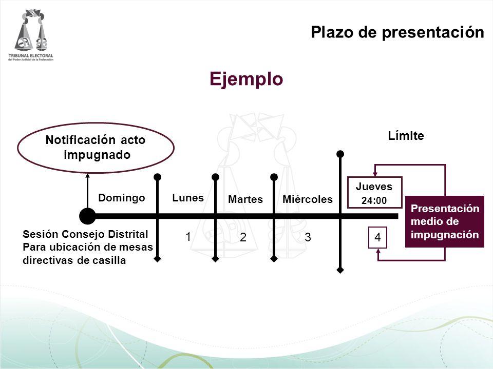 Ejemplo Notificación acto impugnado Sesión Consejo Distrital Para ubicación de mesas directivas de casilla DomingoLunes MartesMiércoles Jueves 24:00 1