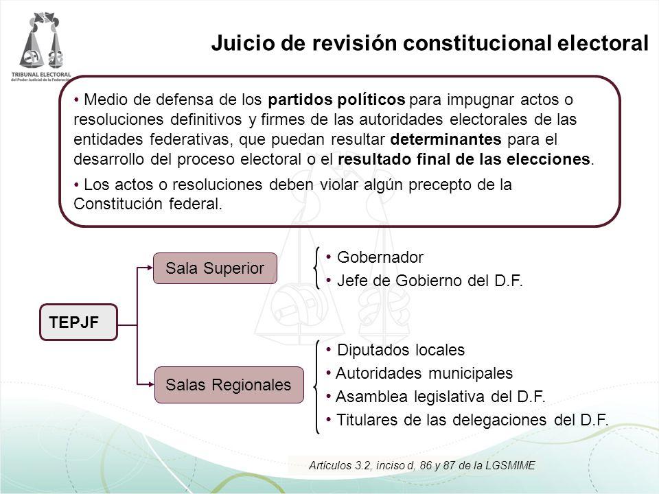 Juicio de revisión constitucional electoral Medio de defensa de los partidos políticos para impugnar actos o resoluciones definitivos y firmes de las