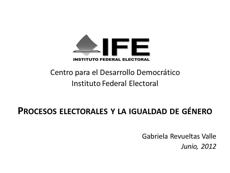 Centro para el Desarrollo Democrático Instituto Federal Electoral P ROCESOS ELECTORALES Y LA IGUALDAD DE GÉNERO Gabriela Revueltas Valle Junio, 2012