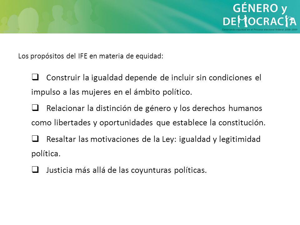 Los propósitos del IFE en materia de equidad: Construir la igualdad depende de incluir sin condiciones el impulso a las mujeres en el ámbito político.
