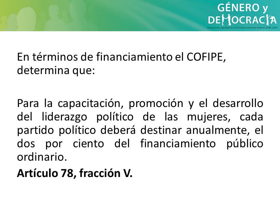 En términos de financiamiento el COFIPE, determina que: Para la capacitación, promoción y el desarrollo del liderazgo político de las mujeres, cada pa