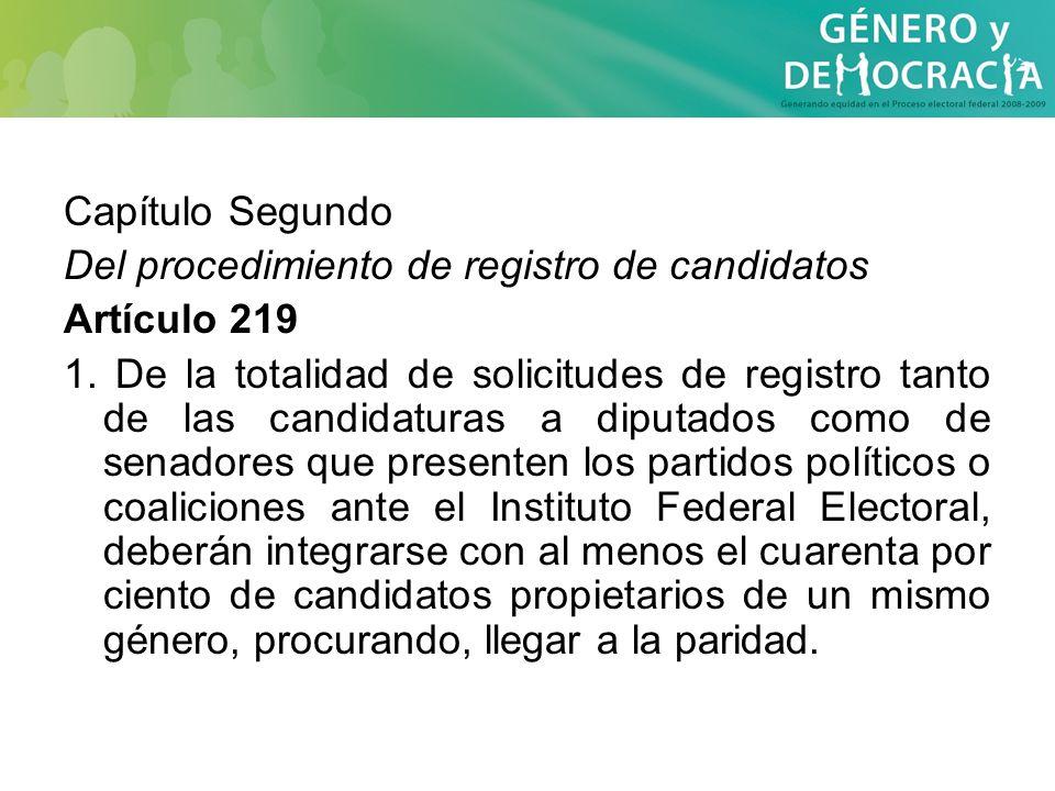 Capítulo Segundo Del procedimiento de registro de candidatos Artículo 219 1. De la totalidad de solicitudes de registro tanto de las candidaturas a di