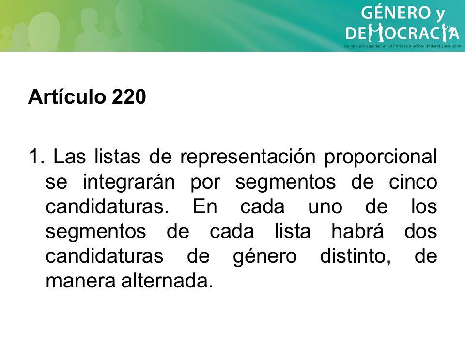 Artículo 220 1. Las listas de representación proporcional se integrarán por segmentos de cinco candidaturas. En cada uno de los segmentos de cada list