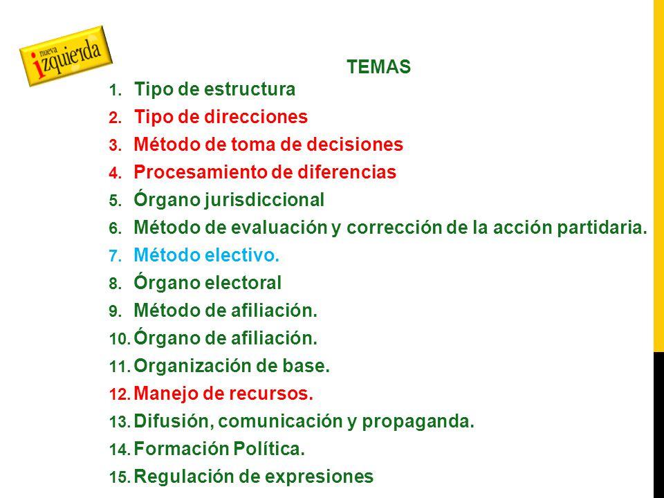 TEMAS 1. Tipo de estructura 2. Tipo de direcciones 3.